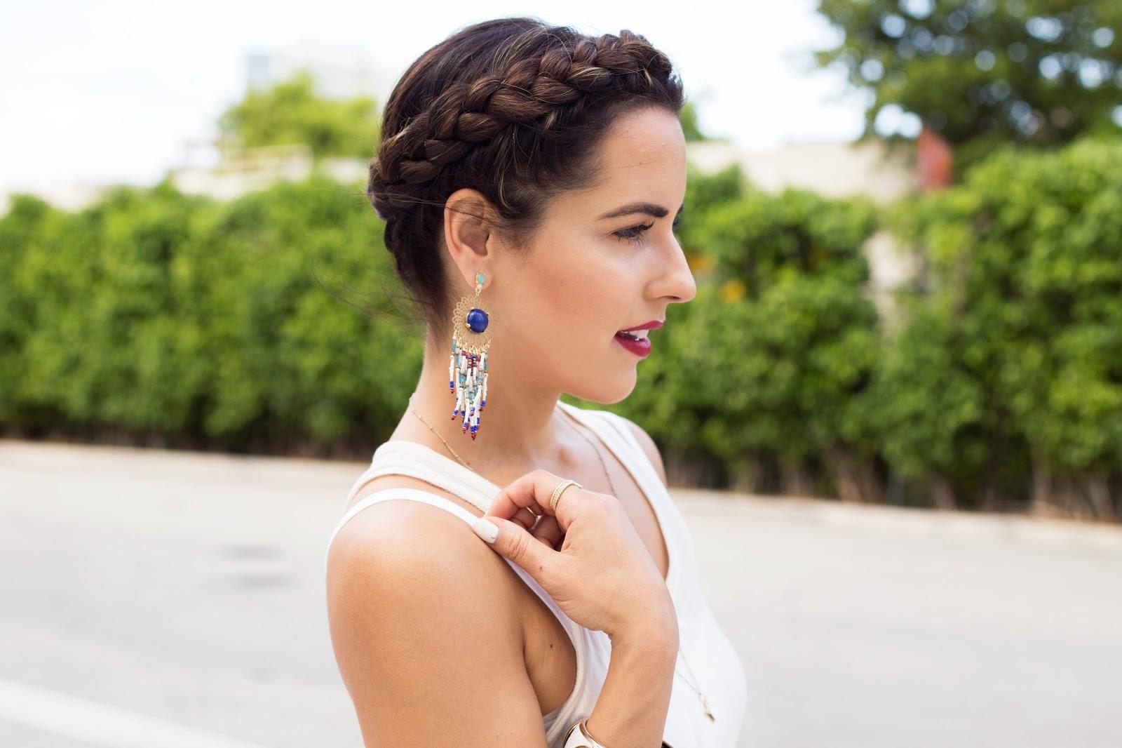 Hair Style Crown Braid Wine Lips Chandelier Earrings Kelly Saks Blogger