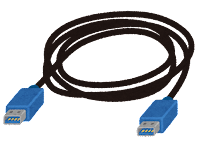 USB3.0端子の付いたケーブルのイラスト