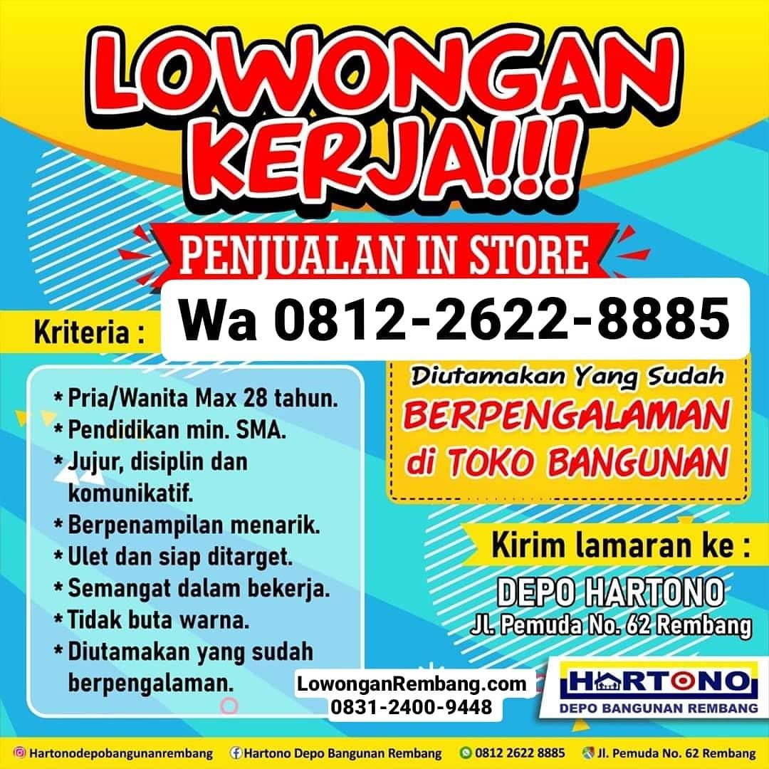 Lowongan Kerja Penjualan In Store Toko Bangunan Depo Hartono Rembang