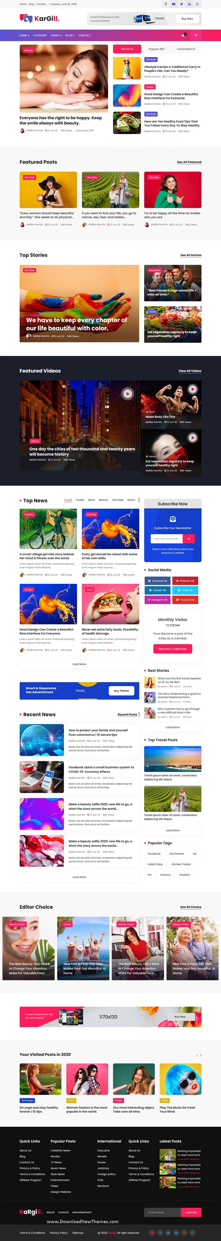 Blog, Magazine HTML Template