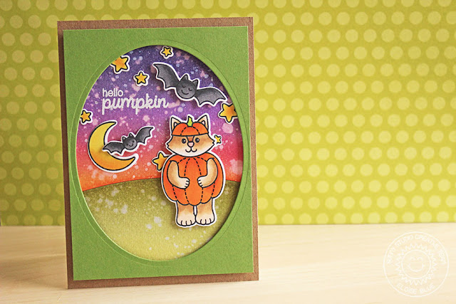 Sunny Studio Stamps: Halloween Cuties Hello Pumpkin Card by Eloise Blue