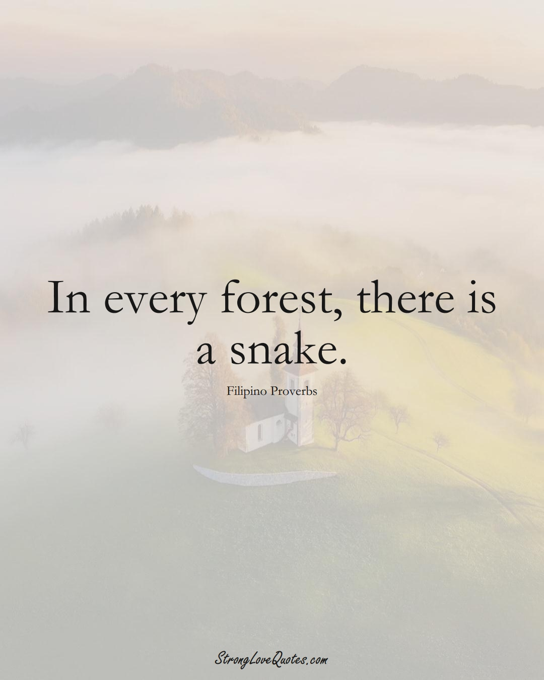 In every forest, there is a snake. (Filipino Sayings);  #AsianSayings
