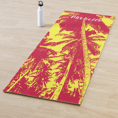 Yoga Mat with Palm Trees design in red and yellow