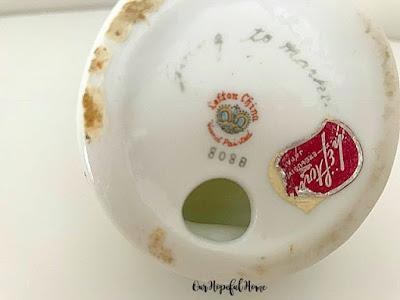 Lefton Exclusive Japan maker's mark Going to Market porcelain angel