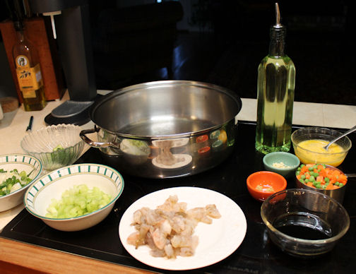 Getting Shrimp Fried Rice Ingredients Ready