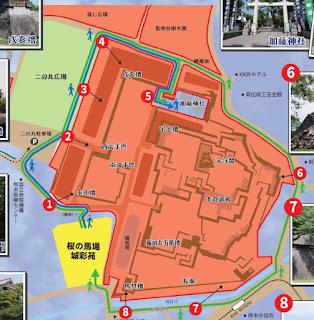 2016年熊本地震後熊本城散步路線地圖