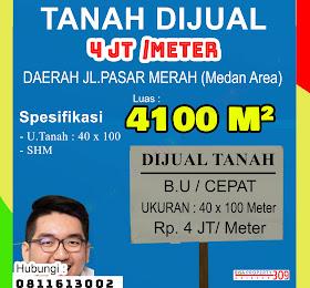 Tanah dijual di daerah Pasar Merah (Medan Denai) Luas 4100 Meter Persegi <del>Rp 5 Jt /Mtr  </del> <price>Rp. 4 Jt /Meter ( Net/No Nego)</price> <code>tanahdipasarmerah</code>