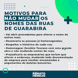 Renato Meireles se posiciona contrario projeto de lei do Poder Executivo que alterará  nomes de algumas ruas de Guarabira.