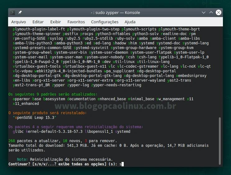 Atualizando o openSUSE Leap 15.3 pelo terminal