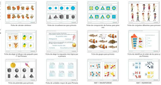 12 fichas con ejercicios de matemática para primer grado