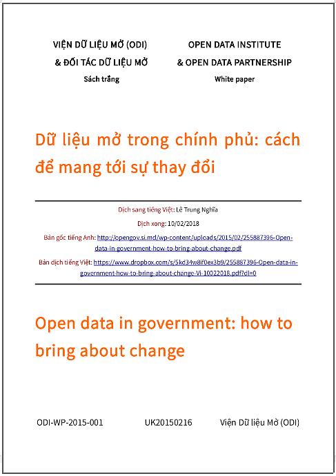 'Dữ liệu mở trong chính phủ: cách để mang tới sự thay đổi' - bản dịch sang tiếng Việt
