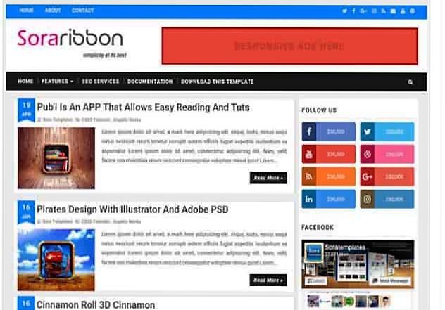 Sora Ribbon free blogger templates