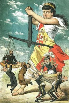 Libertad-reacción. Caricatura publicada en El Motín en 1882