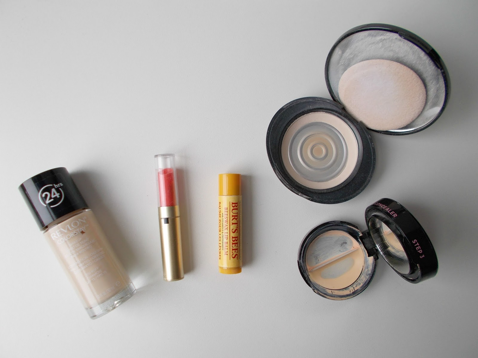 product empties revlon colorstay max factor burt's bees no7 powder soap and glory kick ass concealer