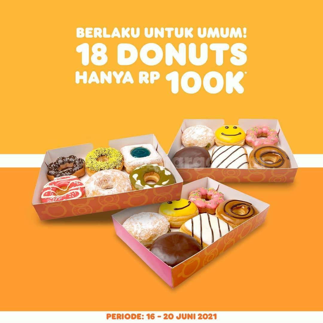 Promo Dunkin Donuts 16 - 20 Juni 2021 - Beli 18 donat hanya Rp 100.000