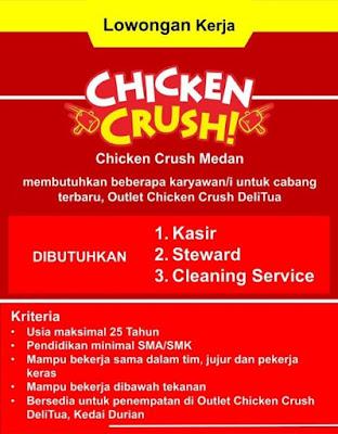 Lowongan Kerja Medan Mei 2021 Tamatan Sma Smk Di Chicken Crush