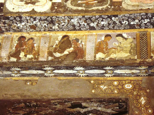 Paintings of couples - Door lintel Ajanta cave 17