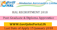 Hindustan Aeronautics Limited Recruitment 2018 – Graduate & Diploma Apprentice