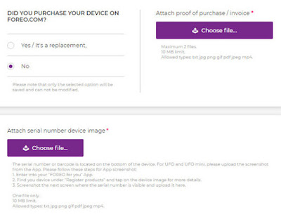 Foreo sẽ hỏi bạn là bạn có mua sản phẩm trên web foreo.com hay không. Tiếp theo là upload ảnh số series của máy.