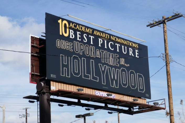 Once Upon a Time in Hollywood 10 Oscars neon sign billboard