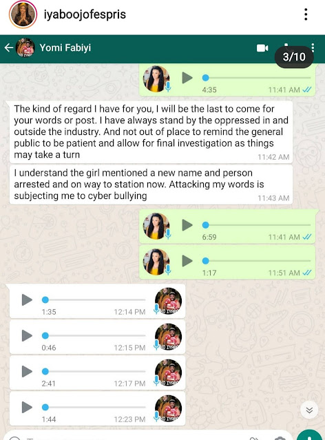 Exposed! Iyabo Ojo releases her full chat with Yomi Fabiyi to show the real picture of their conversation