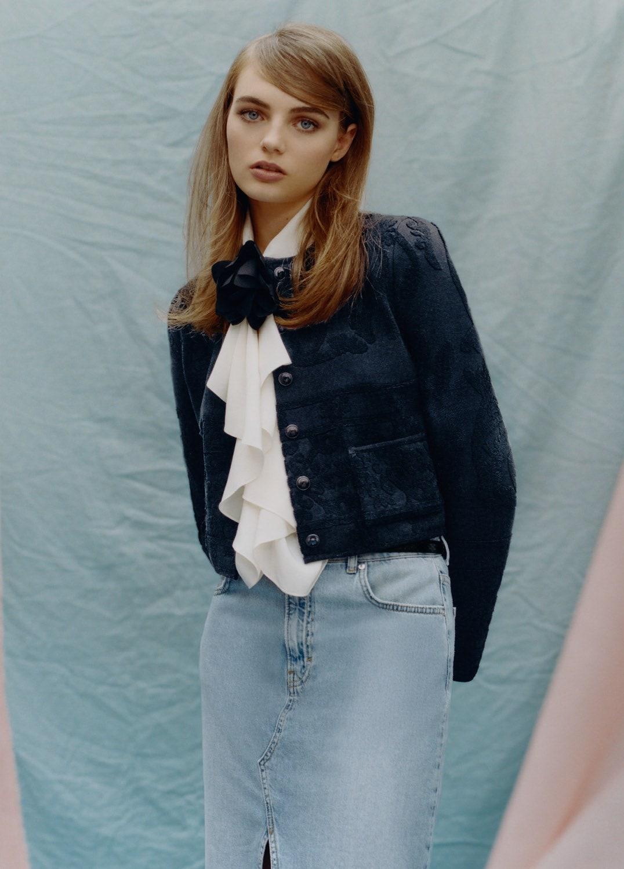 Fran Summers - Marine Serre jacket. Victoria Beckham blouse. Mango skirt. Photographed by Tyler Mitchell, Vogue, April 2020