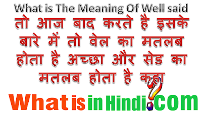 What is the meaning of well said in Hindi