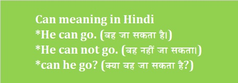 Can meaning In Hindi