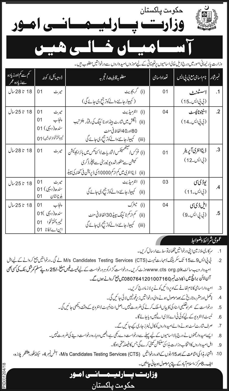 Latest Vacancies Announced in Ministry Of Parliamentary Affairs Govt of Pakistan 16 September 2018