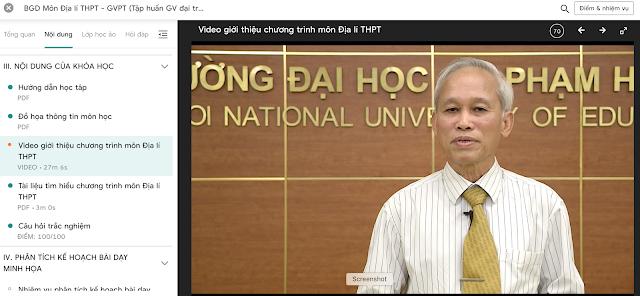 Đáp án video giới thiệu chương trình địa lý THPT