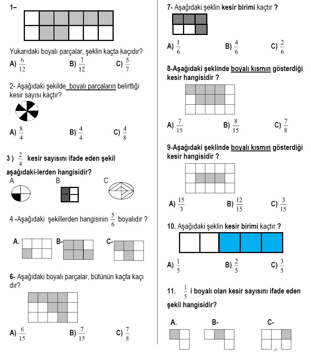 3 Sinif Matematik Kesirler Testi Sorulari Coz 5 Online Test
