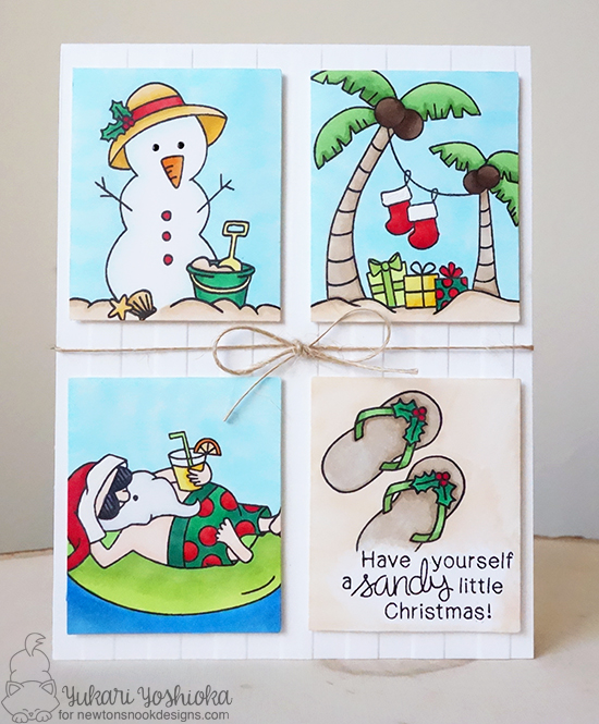 Tropical Beach Christmas Card by Yukari Yoshioka | Sun Soaked Christmas Stamp set by Newton's Nook Designs #newtonsnook