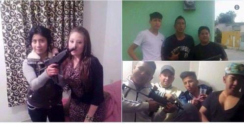 """FOTOS: BANDA DE JÓVENES """"RATAS"""" POSAN CON ARMAS CON LAS QUE COMETEN ASALTOS"""