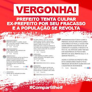 SANTA HELENA: Prefeito Zezildo Almeida sem direção, tentar culpar  ex-prefeito por seus fracassos.
