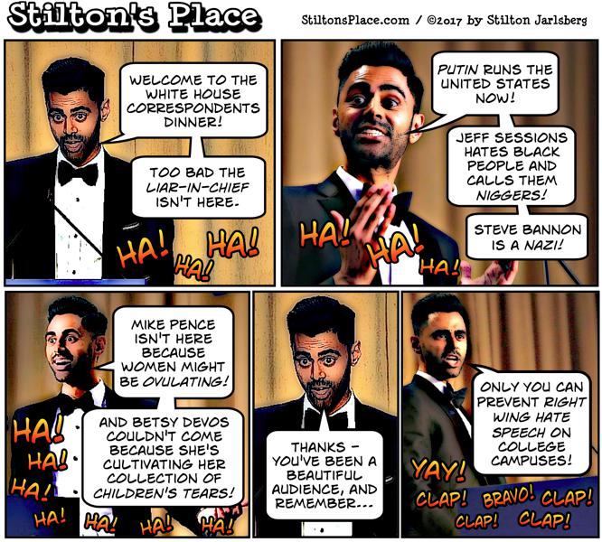 stilton's place, stilton, political, humor, conservative, cartoons, jokes, hope n' change, white house, correspondents, dinner, hypocrisy, free speech, minhaj, brahms, academic