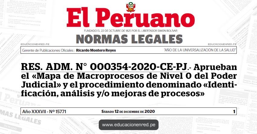 RES. ADM. N° 000354-2020-CE-PJ.- Aprueban el «Mapa de Macroprocesos de Nivel 0 del Poder Judicial» y el procedimiento denominado «Identificación, análisis y/o mejoras de procesos»