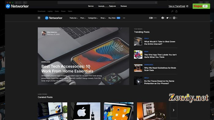 Networker v1.0.7 Tech News WordPress Theme with Dark Mode Nulled