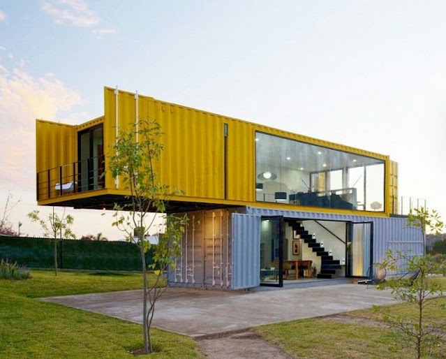Minimalist 2-storey house from used containers