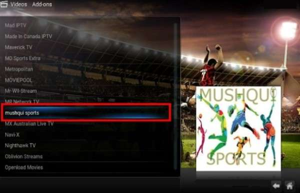 Mushqui Sports Add-On per Kodi Add-On