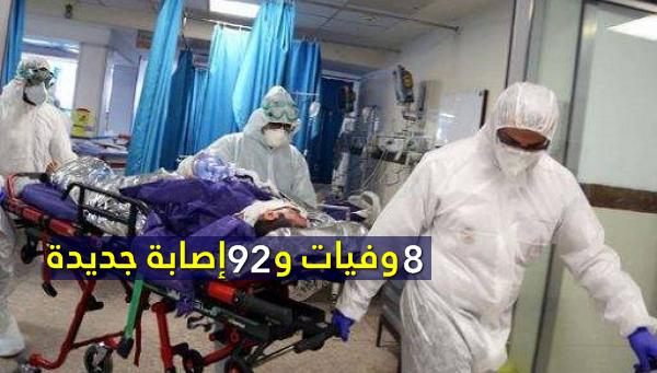 كورونا: 8 وفيات و92 إصابة جديدة
