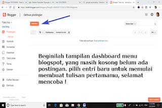 """Blog Baru sudah selesai di buat, sekarang kamu bisa menulis artikel apa saja. Untuk membuat tulisan baru maka pilih """"entri baru""""."""
