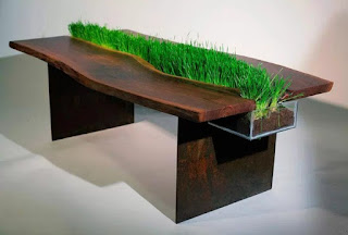 Unique table with grass in his Middle