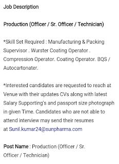 Walk-In Interview Drive for Multiple Positions @ Sun Pharma Ltd- On
