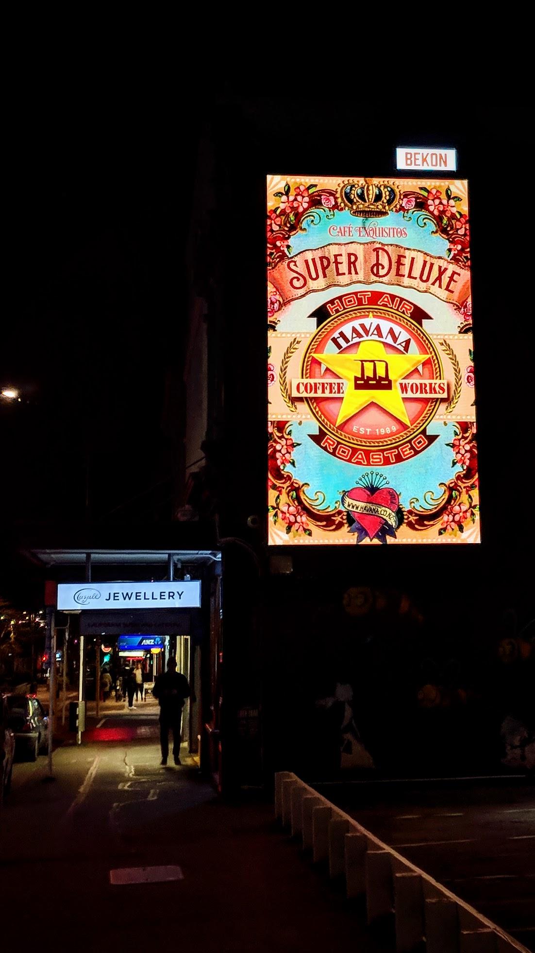 Cuba Street evening signage