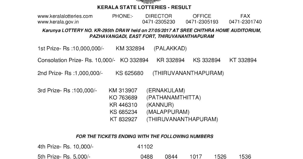 Karunya KR 295 Lottery Results PDF