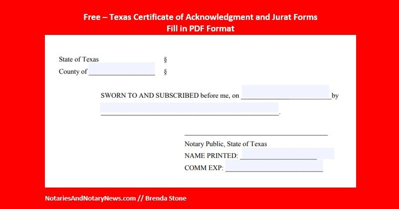 notaries and notary news free texas notary certificates. Black Bedroom Furniture Sets. Home Design Ideas