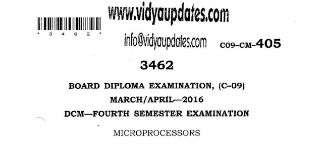 SBTET AP C-09 MICROPROCESSORS PREVIOUS QUESTION PAPER MARCH-APRIL 2016