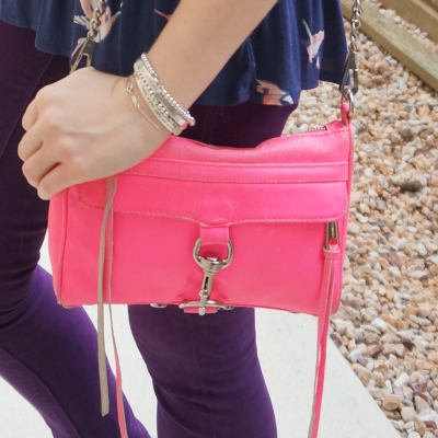 purple jeans with Rebecca Minkoff neon pink mini MAC | away from the blue