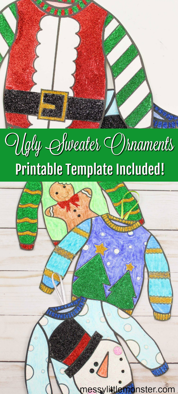 DIY ugly sweater ornament with printable ugly sweater template. Easy DIY Christmas tree decoration for kids.