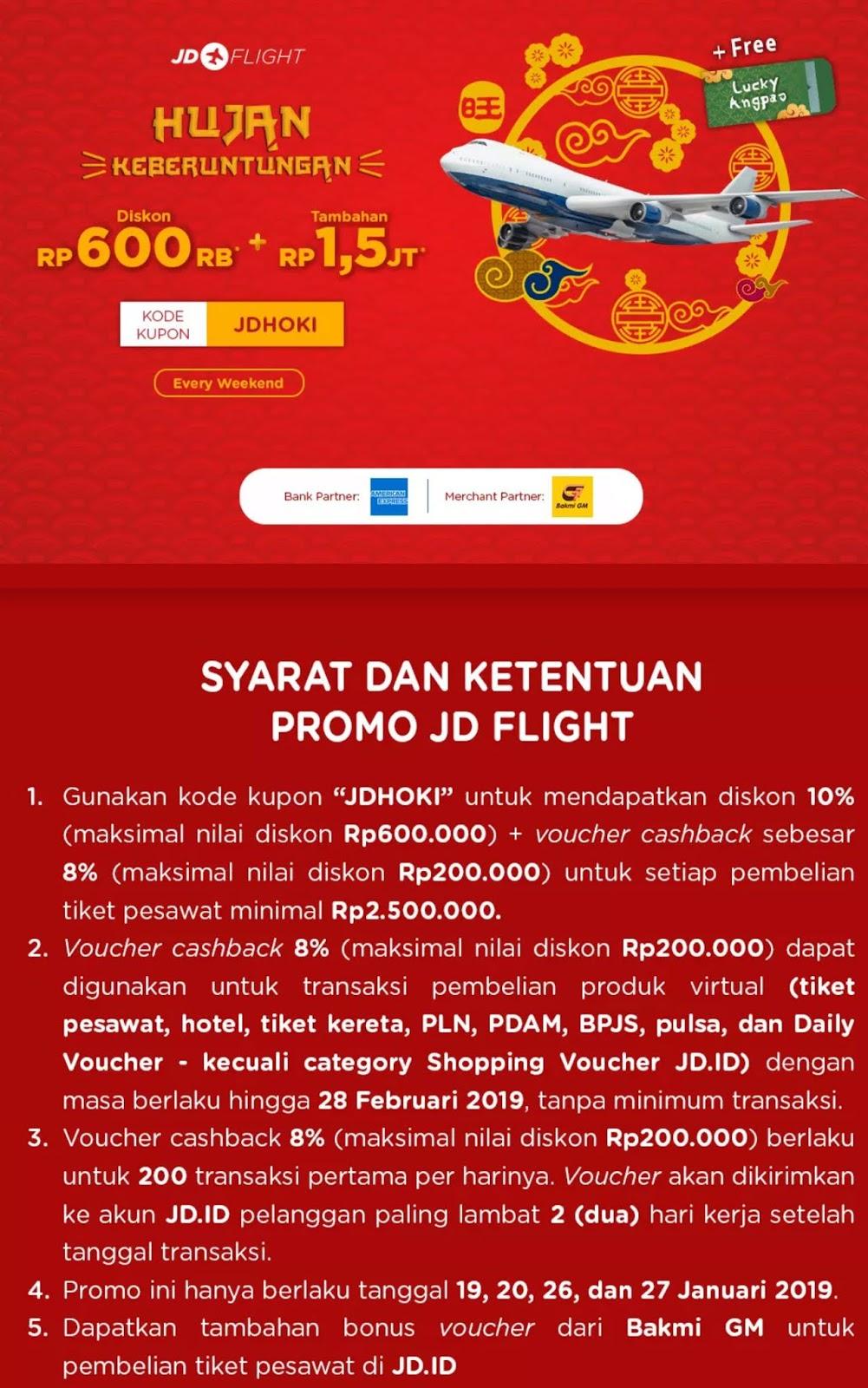 #JDID - #Promo Voucher Diskon 600K Tiket Pesawat + Free Lucky Angpao (s.d 27 Jan 2019)